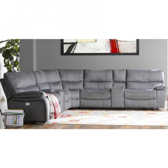 Cheers Furniture Company: Light Grey Leather Sectional Cheers RF Modern Outlet Discount Furniture Selections SECTIONAL