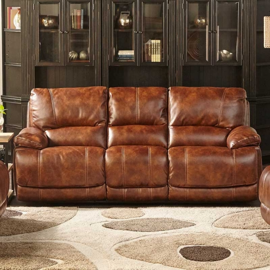 Brown Leather Sofa Cheers RF Modern Outlet Discount ...