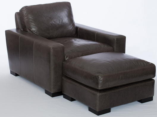 Brown Leather Chair With Ottoman Maxim Rf Modern