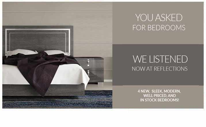 New Modern Bedrooms at Reflections Furniture