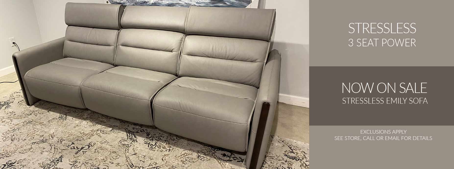 Stressless 3 Seat Power Sofa